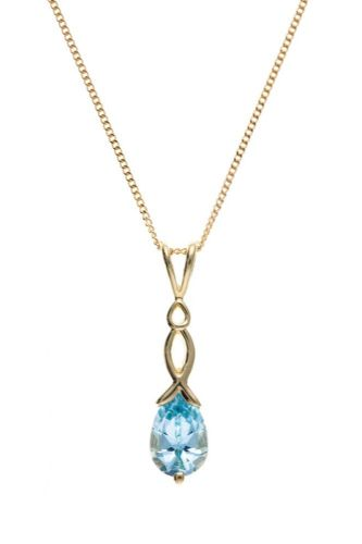Pear Shaped Yellow Gold Blue Topaz Necklace